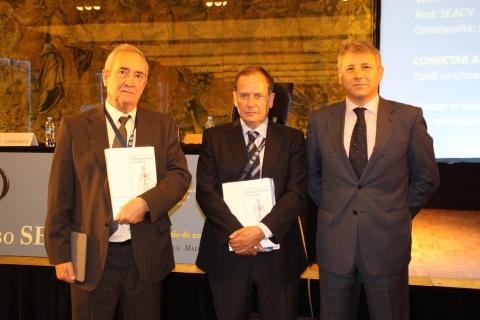 Vicente Ibáñez, presidente del CEFyL, Javier Álvarez, presidente de la SEACV y Mario Lozano, de Rovi